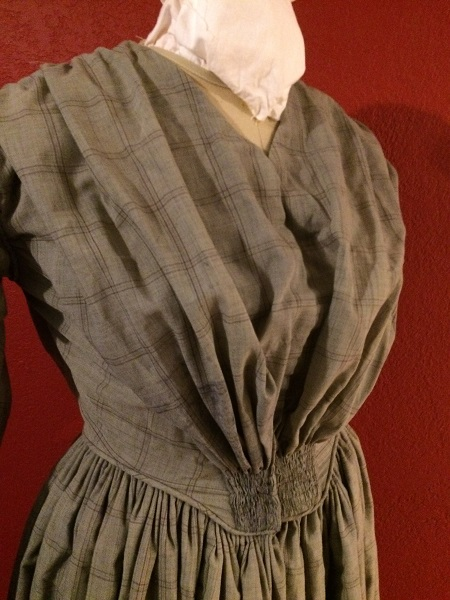 1840s Reproduction Fan Front Beige Plaid Daydress