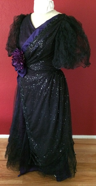 1890s Reproduction Black Tulle Ball Gown
